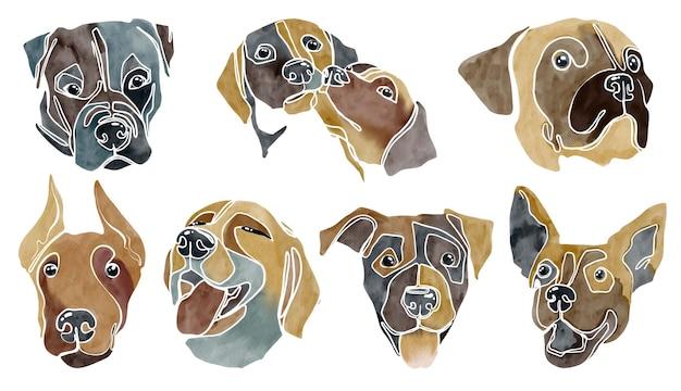 抽象的な水彩犬の肖像画のセット