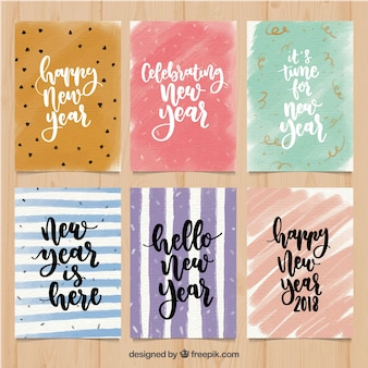 Set of abstract watercolor new year cards