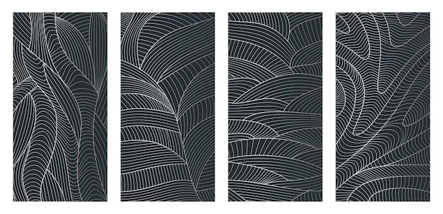 波のテクスチャと抽象的な波状の背景線パターンのセット