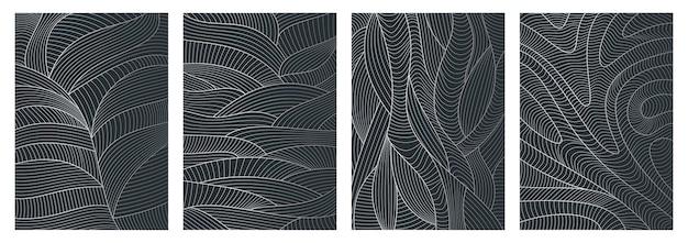 波のテクスチャと抽象的な波状の背景線パターンのセット Premiumベクター