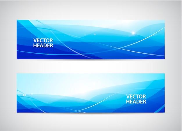 抽象的な波状の水平ヘッダー、webバナーのセット。水の流れ、流れ。ペーパーカットバナー