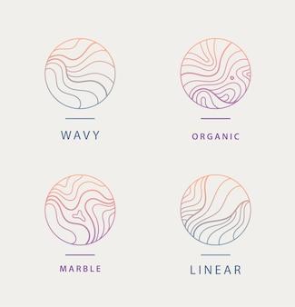 抽象的な波状の最小限の有機ロゴのセット