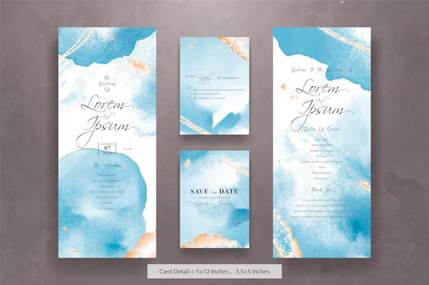 Набор абстрактных свадебных пригласительных билетов с дизайном жидкой художественной живописи