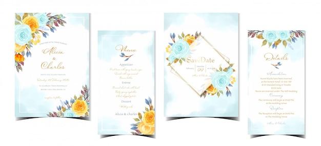 꽃과 추상 결혼식 초대 카드 세트