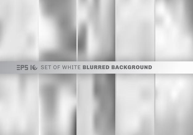 抽象的な白と灰色の背景をぼかした写真のセットです。