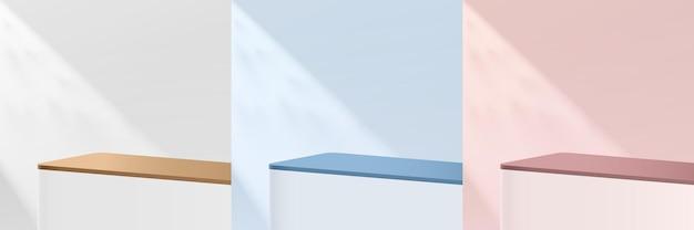 추상 흰색, 분홍색, 파란색 둥근 모서리 3d 받침대 또는 그림자가 있는 스탠드 연단 세트. 파스텔 최소한의 장면 모음입니다. 제품 디스플레이 프레젠테이션을 위한 현대적인 벡터 렌더링 기하학적 플랫폼입니다.