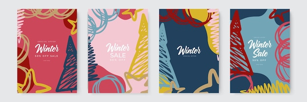 추상 겨울 배경 세트 떨어지는 눈송이 눈 덮인 나무와 화려한 겨울 배너 wintr...