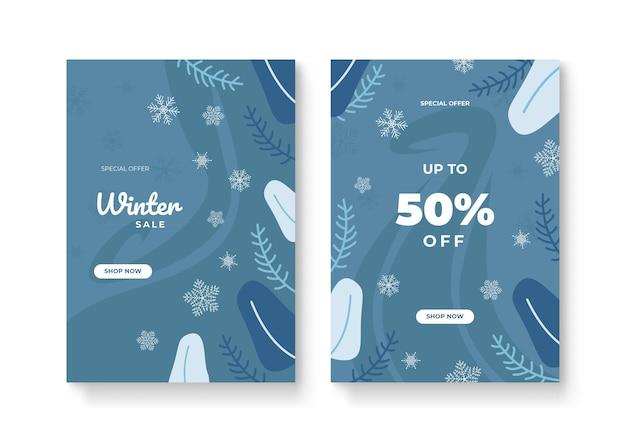 Набор абстрактных зимних фонов для универсального шаблона. красочные зимние баннеры с падающими снежинками, заснеженными деревьями. зимние пейзажи. используйте для приглашения на мероприятие, купона на скидку, рекламы.