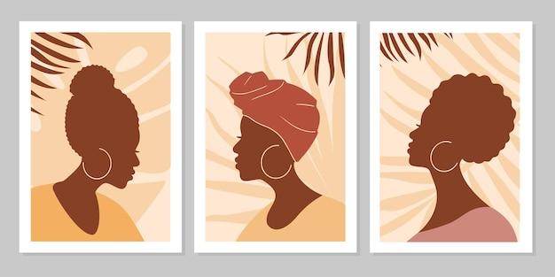 Набор абстрактных портретов женщин с листьями. абстрактный женский силуэт в стиле минимализма бохо. векторная иллюстрация плоский. дизайн для социальных сетей, открытки, печать, фон