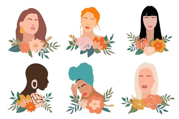 꽃과 추상적 인 여자의 삽화의 세트