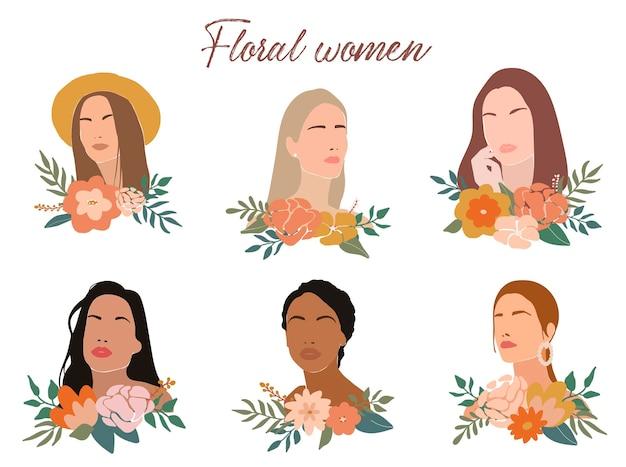 Набор абстрактных женских портретов с цветами