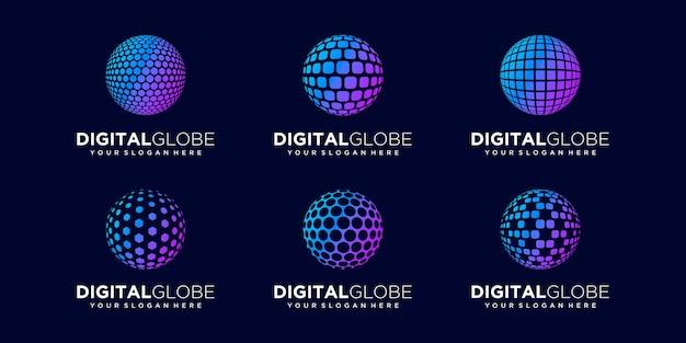 Набор абстрактных мировых данных цифрового шаблона вектора дизайна логотипа.