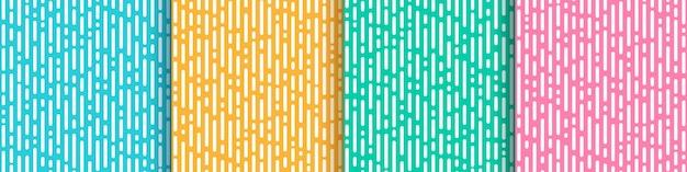 추상 노란색 분홍색 녹색 민트와 밝은 파란색 세로 둥근 선 전환의 집합입니다.