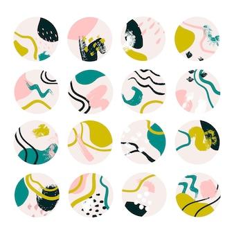 抽象インスタハイライトカバーのセット。丸い手描きの背景のコレクション。現代のソーシャルメディアストーリーのアイコン。フラットイラスト