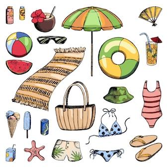 해변 휴가를 위한 액세서리 세트입니다. 바다, 여름, 해변에서의 휴일. 스케치 스타일의 휴가 테마 컬렉션입니다. 손으로 그린 벡터 일러스트 레이 션. 디자인을 위해 격리된 밝은 색의 만화 요소입니다.