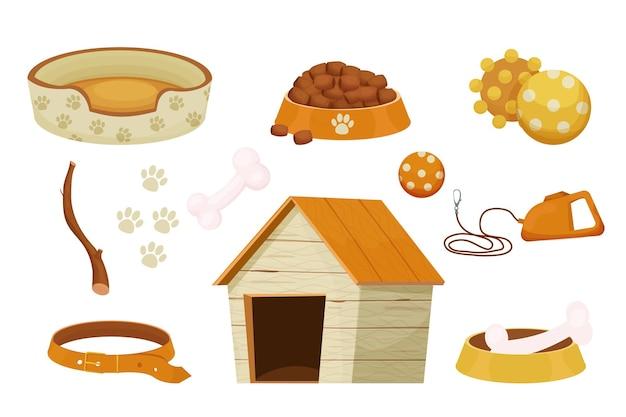 애완 동물 관리를위한 개집 장난감 고리가있는 개를위한 액세서리 세트