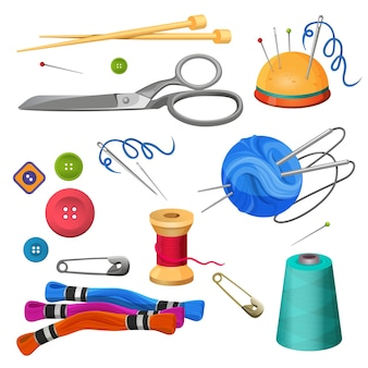 縫製や手工芸品のアクセサリーのセット。カラフルなボビン、金属はさみ、針、ボタン、安全ピンのピンクーシュは、白い背景で隔離のイラストをベクトルします。