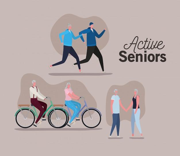 茶色の背景のデザイン、活動テーマにバイクでアクティブな高齢者の女性と男性の漫画のセット