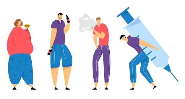 Набор зависимых человеческих персонажей, переедания, курения, наркомании и алкогольной зависимости