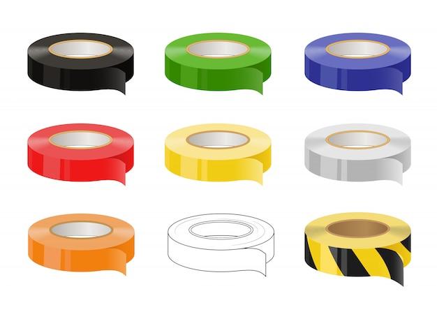 Набор клейких лент: черная, зеленая, синяя, красная, желтая, серая, оранжевая, черная и желтая предостерегающая лента.