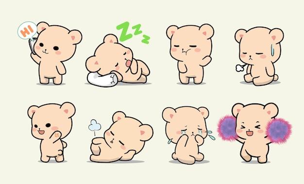 Набор очаровательных милый медведь с разными позами и жестами карикатура иллюстрации