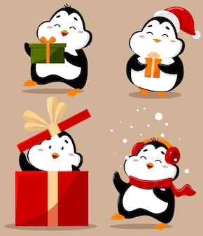 愛らしいかわいいクリスマスペンギンのセット