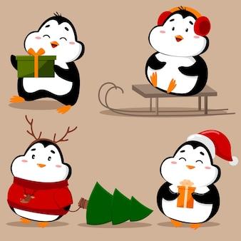 愛らしいかわいいペンギンのセット
