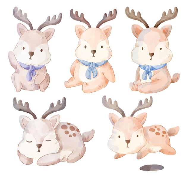 愛らしい鹿のセットです。さまざまな犬のジェスチャーと色