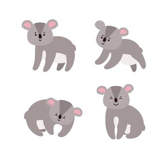 愛らしいコアラのセット白い背景で隔離幸せなコアラ