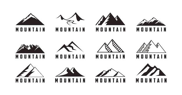 山のアイコンと冒険ロゴベクトルのセット