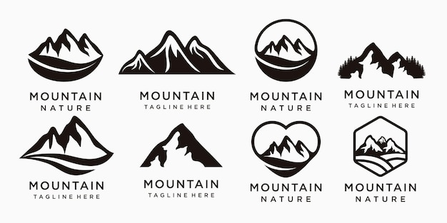 山のアイコンプレミアムベクトルと冒険ロゴのセット