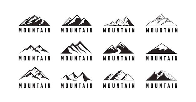 山のアイコンと冒険のロゴのセット