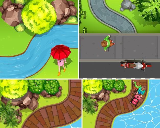 川のシーンと空中公園のセット