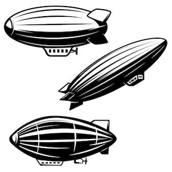 白い背景の上のエアロスタットイラストのセットです。飛行船ツェッペリン。ロゴ、ラベル、エンブレム、記号の要素。画像
