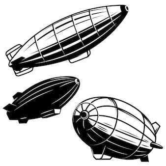 白い背景の上のエアロスタットイラストのセットです。飛行船ツェッペリン型飛行船。ロゴ、ラベル、エンブレム、記号の要素。画像