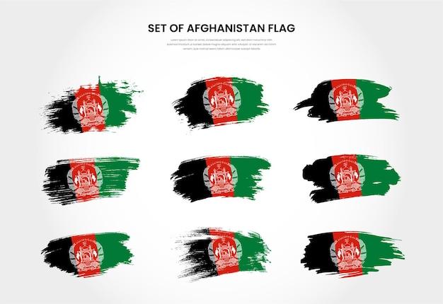 Набор флагов мазка кисти гранж страны афганистана