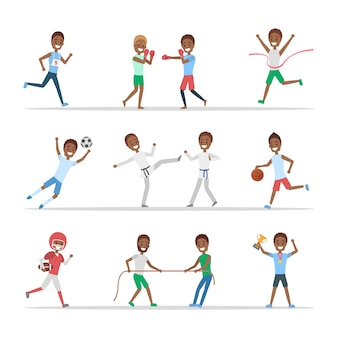 アフリカ系アメリカ人のスポーツマンのセットです。バスケットボール、ボクシング、ランニング、そして競争での勝利など、さまざまな種類のスポーツをしている人々。分離フラットベクトルイラスト