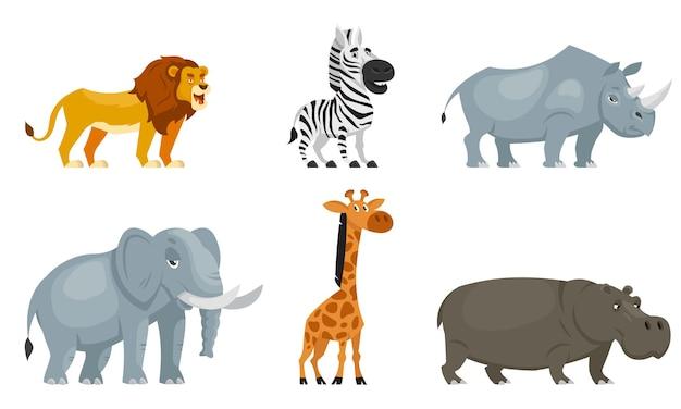 アフリカの動物の4分の3ビューのセット。漫画風の野生生物の住民。