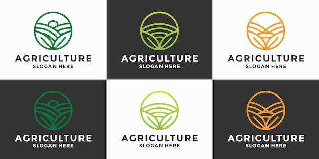 농업 로고 디자인 농업 벡터의 집합