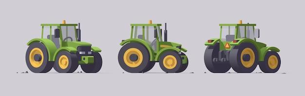 회색에 고립 된 농업 기계 세트