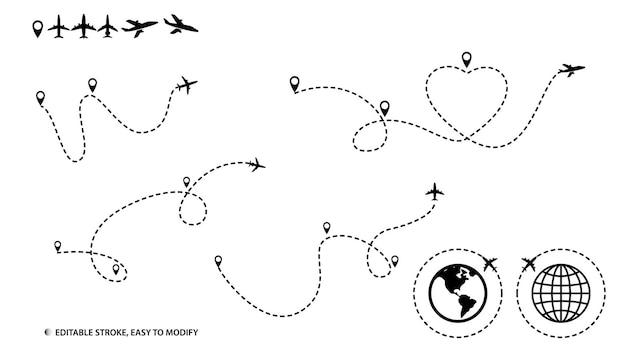 Набор маршрута самолета или пути линии самолета с штриховой линией редактируемый вектор eps