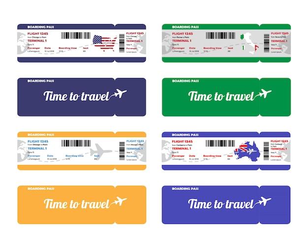 항공사 탑승권 세트. 템플릿 또는 모형 흰색 배경에 고립입니다. 앞면과 뒷면 티켓. 여행 배너.