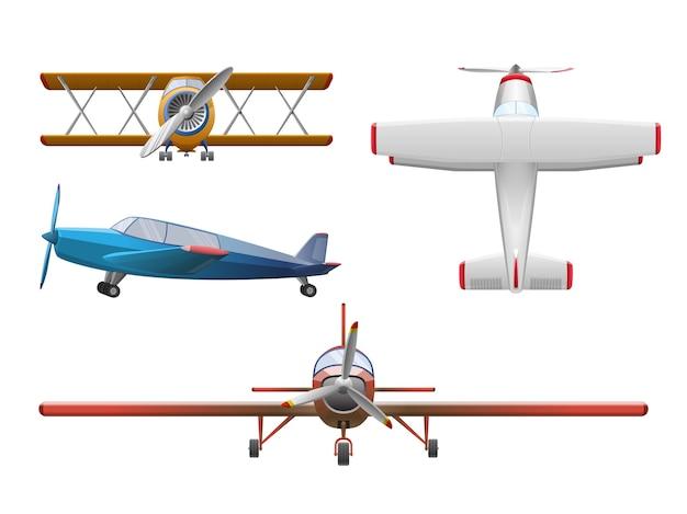 白で隔離の漫画スタイルの飛行機のセット