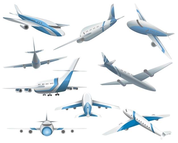Набор самолетов в разных позициях для флота коммерческой авиации. авиационный транспорт. путешествие гражданского самолета и авиационные символы. крыло летного транспорта.