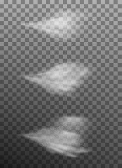 Набор воздушно-водяного тумана. распылитель туман на темном прозрачном фоне. воздушный спрей и вода туманного тумана. а также включает в себя