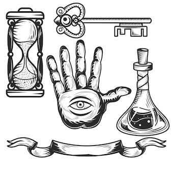独自のバッジ、ロゴ、ラベル、ポスターなどを作成するための錬金術要素のセット。