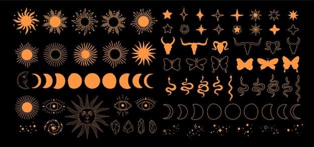 錬金術の秘教の神秘的な魔法の天体のアイコン、太陽、月の満ち欠け、星、分離された神聖幾何学のセット