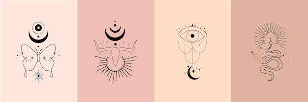 雄牛、ヘビ、蝶、太陽、月、星の神聖幾何学の頭蓋骨を持つ錬金術の秘教の神秘的な魔法の天体のお守りのセット
