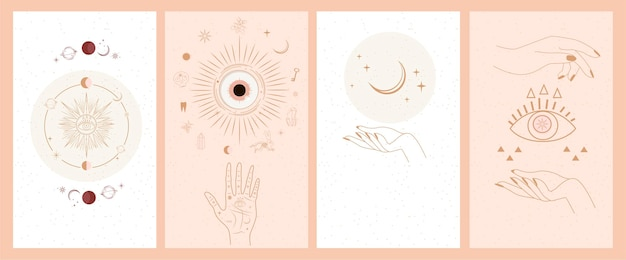 여자 손, 태양, 달, 고립 된 신성한 기하학 별 연금술 밀교 신비로운 마법의 천상의 부적 세트