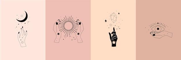 Набор алхимических эзотерических мистических магических небесных талисманов с женскими руками, солнцем, луной, звездами сакральной геометрии изолированы